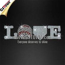 Custom love baseball glitter dmc hotfix rhinestone designs free sample offered