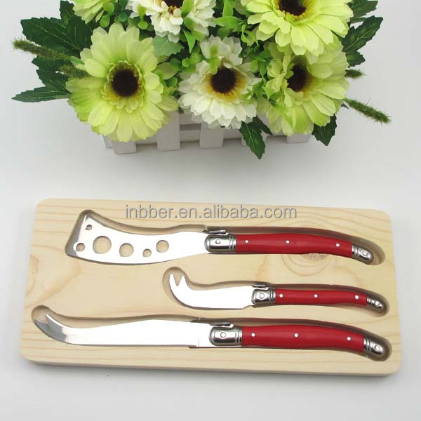 (SK310)Novelty best wooden holder 3pcs cheese knife set