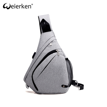 9f98cfcb0b Wholesale One Shoulder Triangle Sports Single Strap Backpack For Men USB  Port