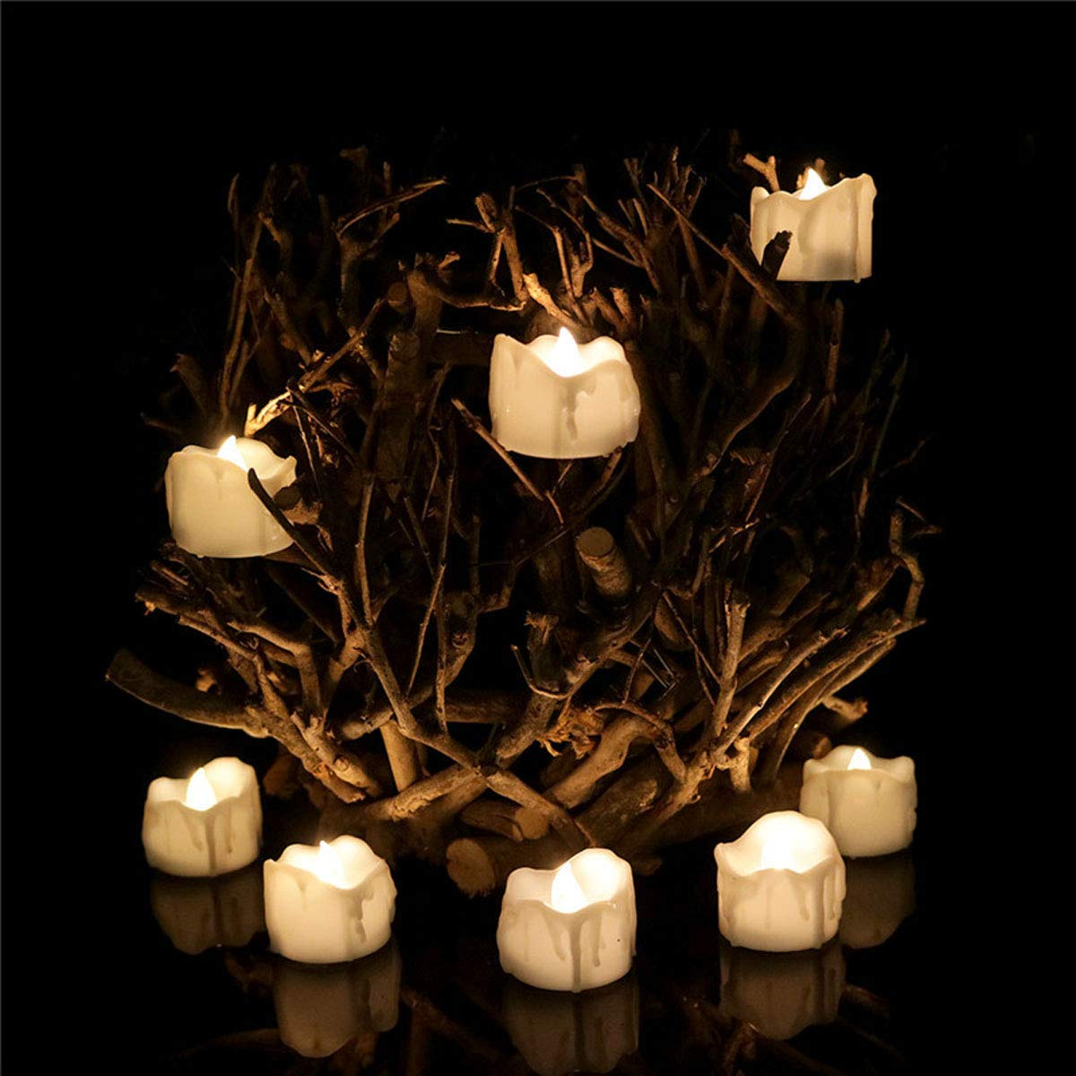 Dellukee Flameless Votive Candles Timer Drop Tear Realistic Bright Battery Operated LED Tea Lights Candle for Wedding Birthday Party Decoration, Pack of 24, Electric Fake Candle in Warm White