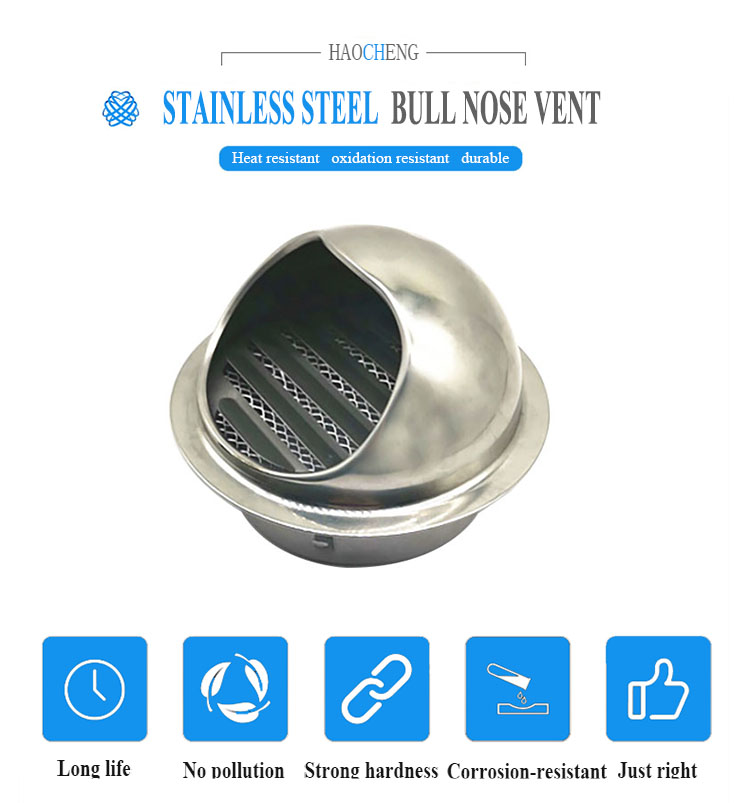 100mm 150mm stainless steel air duct dome vent