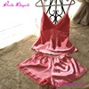 Women Pink Night Dress Silk Pajama Sets Sexy Nighty
