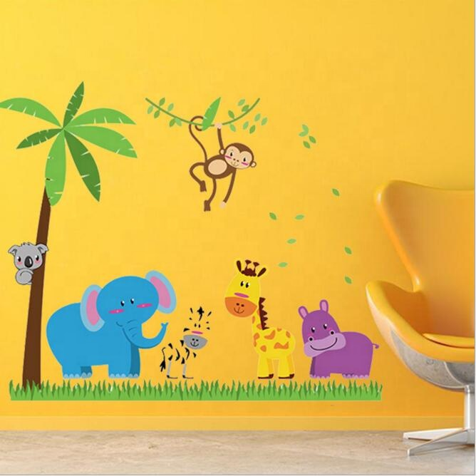 Removable animals wall stickers coconut palm tree room decor for kids room