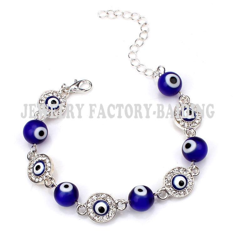 Синий стекло дурной глаз бусины с сплав дурной глаз подвески турецкий браслет для девочки