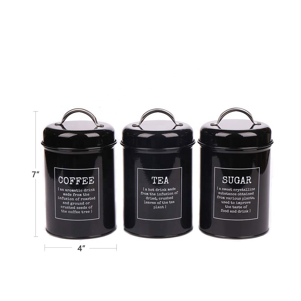 Wholesale Black Set of 3 Coffee Tea Sugar Metal Containers Kitchen Canister Sets With Lids