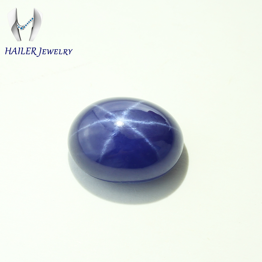 Lab created beautiful oval shape blue star sapphire <strong>stone</strong>