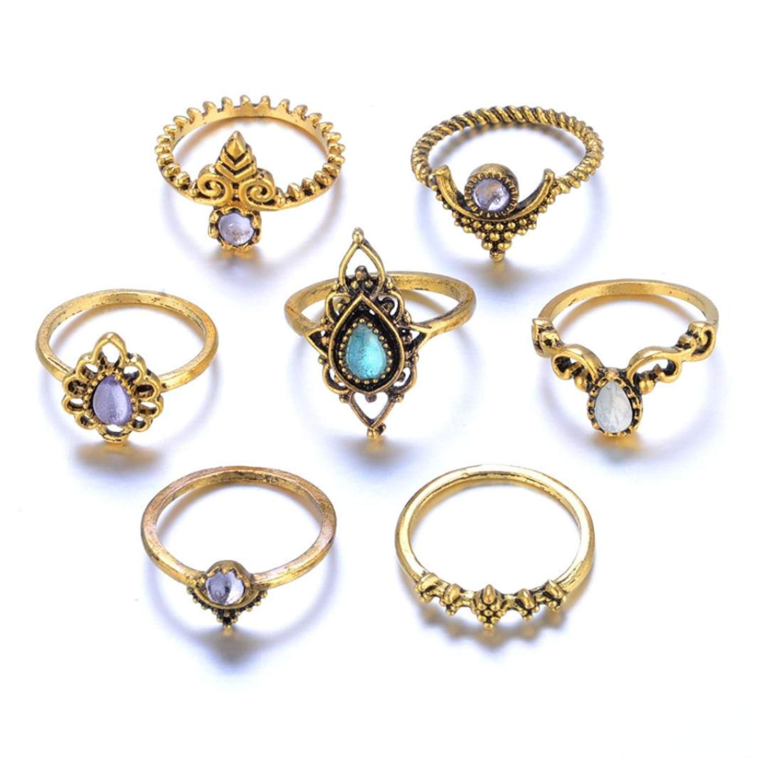 Clearance Sale! Vintage Rings,Leewos Women Bohemian Silver Stack Rings Above Knuckle Blue Rings Jewelry Gift Set 7pcs
