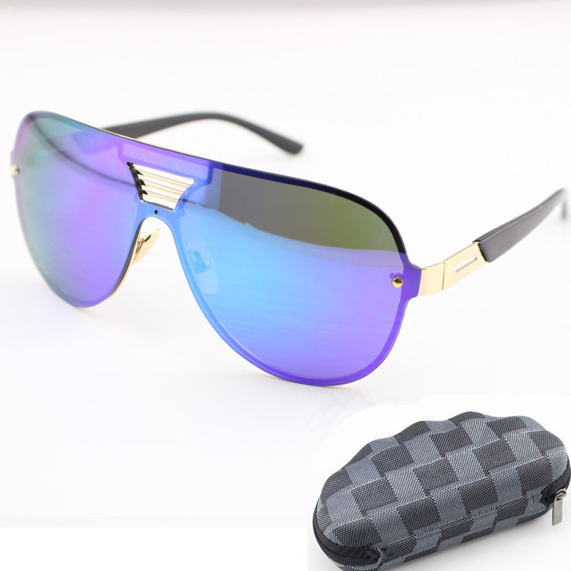2015 summer style women sunglasses Valentine brand big frame colorful mirror lenses Siamese sun glasses goggle eyeglass with box