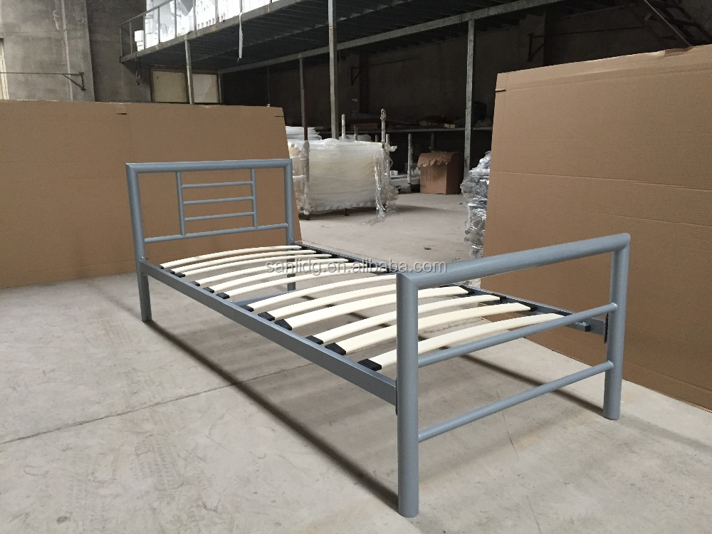 Single Metal Bed Simple Bed Frame Design With Wood Or Metal Slats