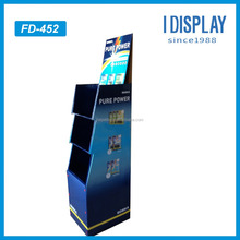 customized classical three tiers comodity promotional cardboard display shelf battery retail display rack