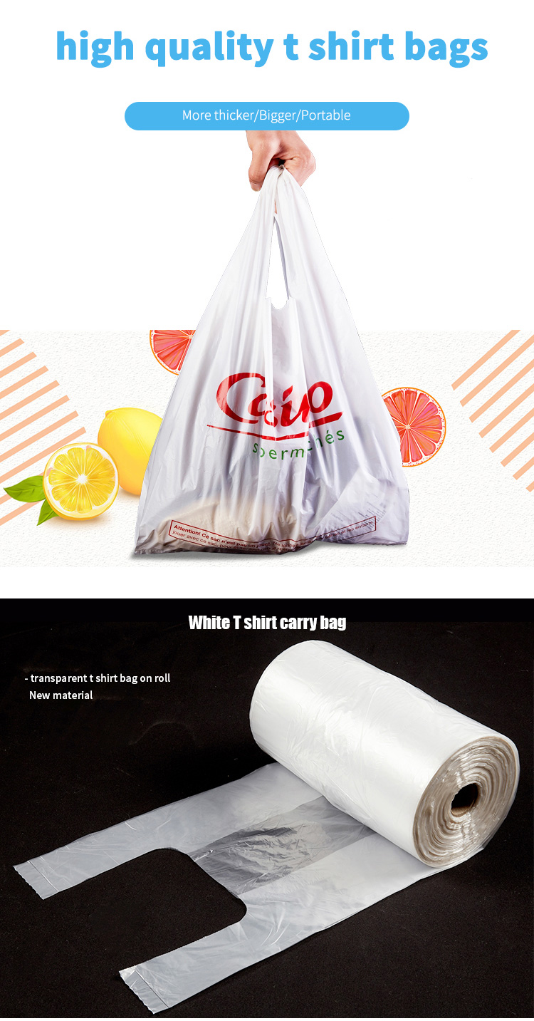 Custom logo biodegradable super market t shirt packaging plastic bags