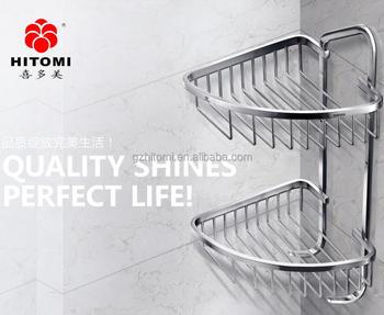 304 Stainless Steel Dual Corner Basket Bathroom Shelf In Satin Shampoo Holder