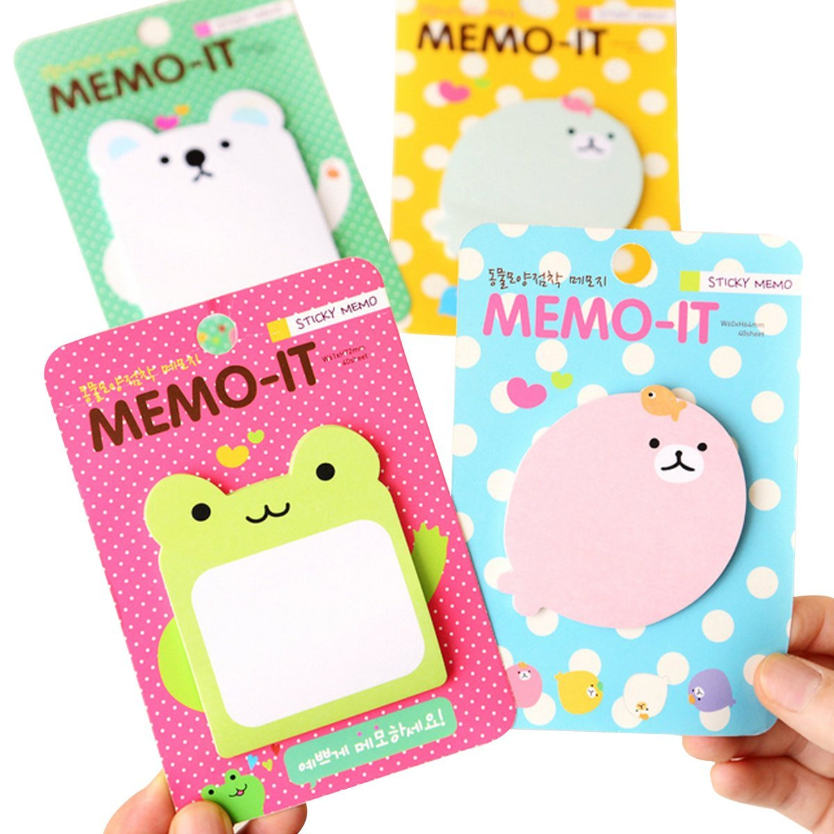 Mily Lovely Cute Cartoon Sticky Note Self-stick Note Pack of 4, 40 Sheets per Pack