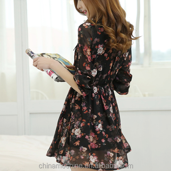 MS70185L 2015 women long sleeve stand collar flower printed black chiffon dresses