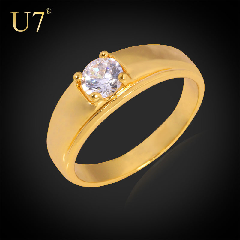 U7 Simple Gold Ring Designs Wedding Band Engagement Rings For Women 18k Gold Platinum Plated Singet Rings With Diamond Zirconia Buy At The Price Of 3 51 In Alibaba Com Imall Com