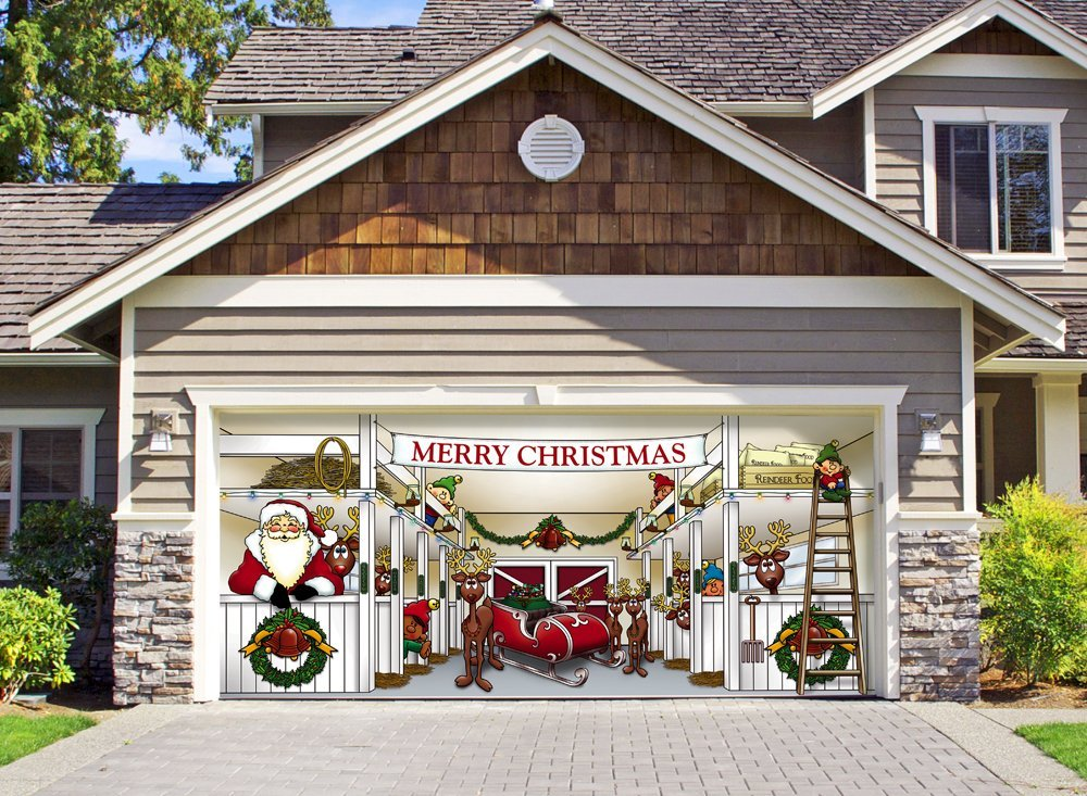 huge santas reindeer barn outdoor christmas holiday garage door dcor - Farmhouse Outdoor Christmas Decorations