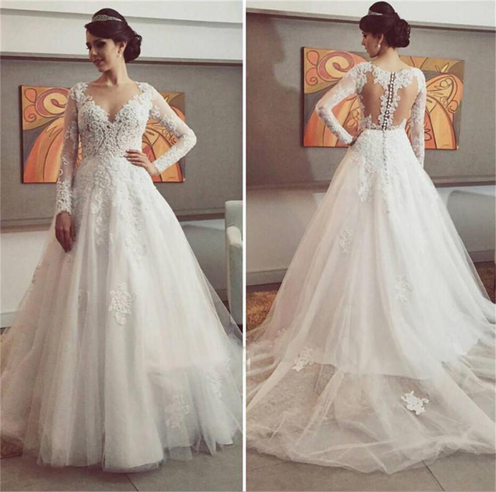 A Line Wedding Gown With Sleeves: 2016 Saudi Arabia Wedding Dress Long Sleeves A Line Bridal