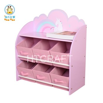 Unique Combination Of Toy Organizer And Bookshelf Six Fabric Bin Units Eco Friendly