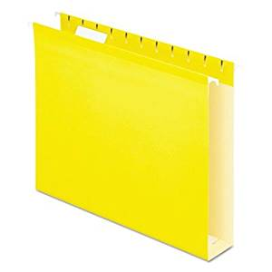 Pendaflex Colored Box Bottom Hanging Folder - Letter - 8.50quot; Width x 11quot; Length Sheet Size - Ring Fastener - 2quot; Folder Fastener Capacity - 1 Pockets - Pressboard - Yellow - 25 / Box