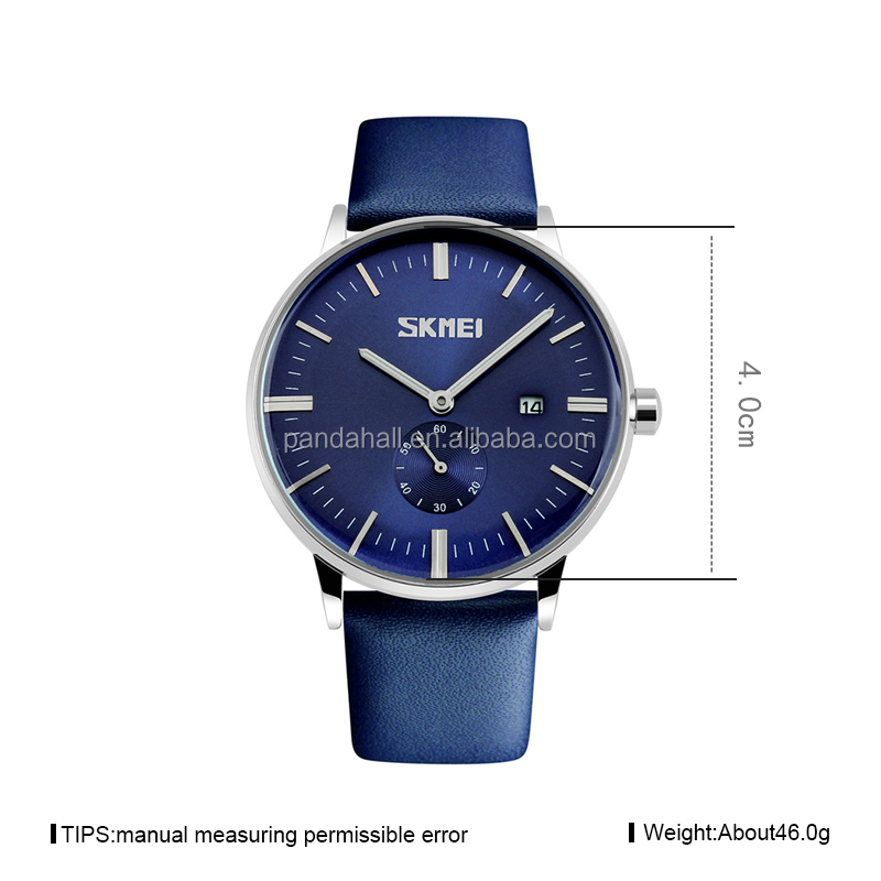 Automatic Fashionable Design Business Blue Leather Watches Wristwatches for Men