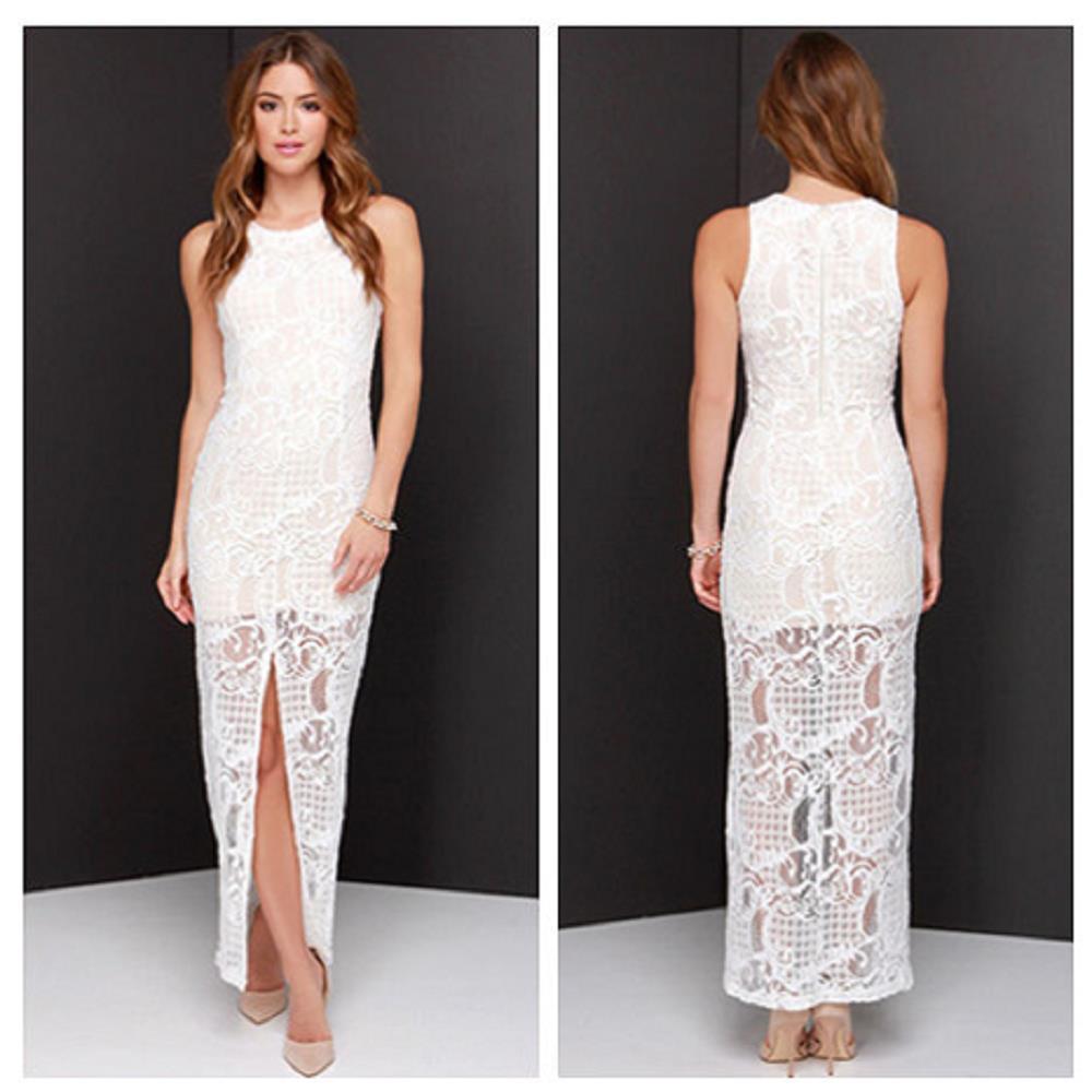 Women Summer Dress 2015 Casual Chiffon Lace White Long ...