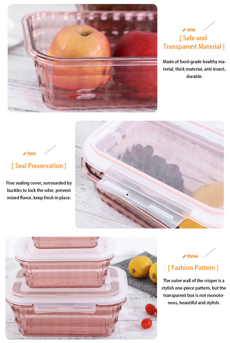 Sealed Crisper Plastic Food Fridge Storage Box Reusable Kitchen Food Storage Box