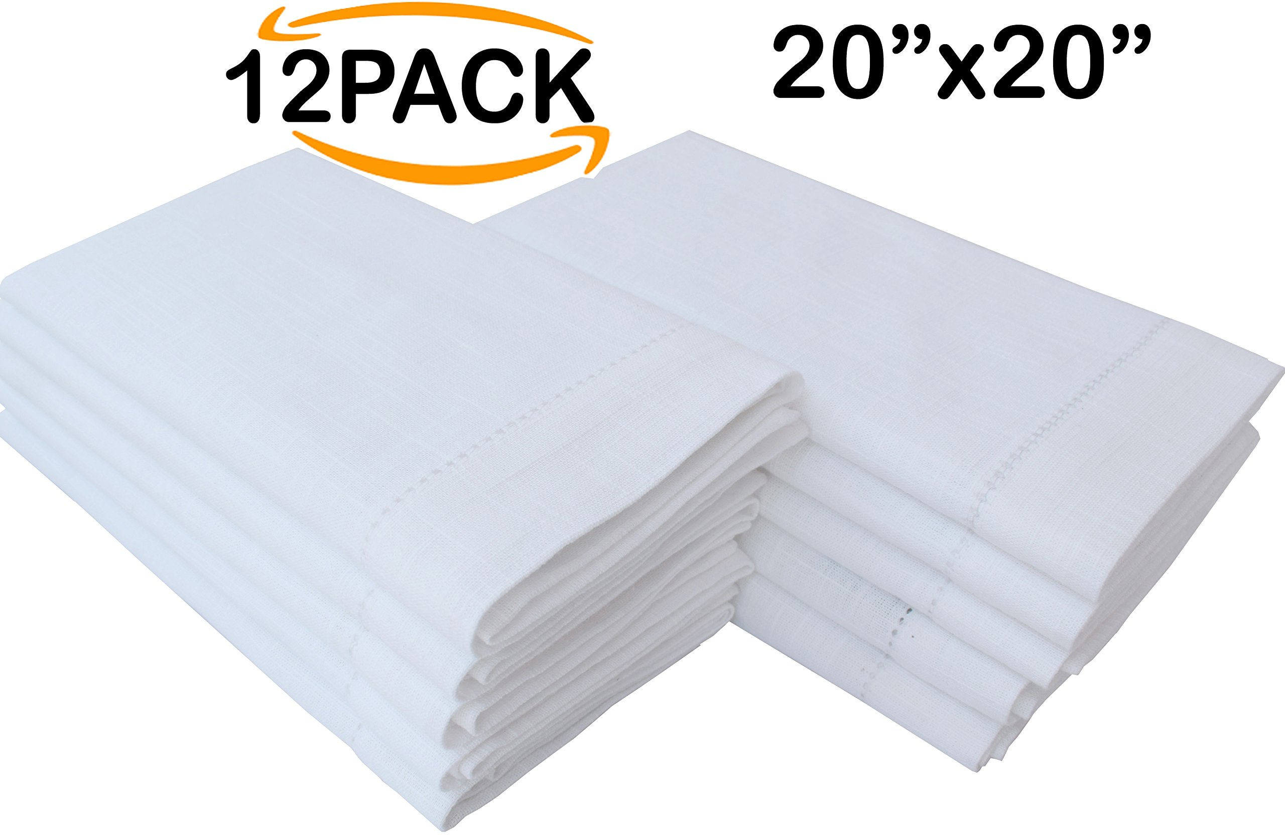 Linen Clubs 12-Piece Handmade Ladder Lace Hemstitched Egyptian Slub Cotton Linen 20-Inch-by-20-Inch Napkins, White