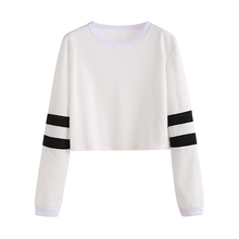 Women Clothing Casual Ladies T Shirt Round Neck Striped Long Sleeve Crop Top