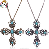 PLX-00152 gold silver jesus cross necklace pendant christian necklace with natural turquoise and rhinestone long chian