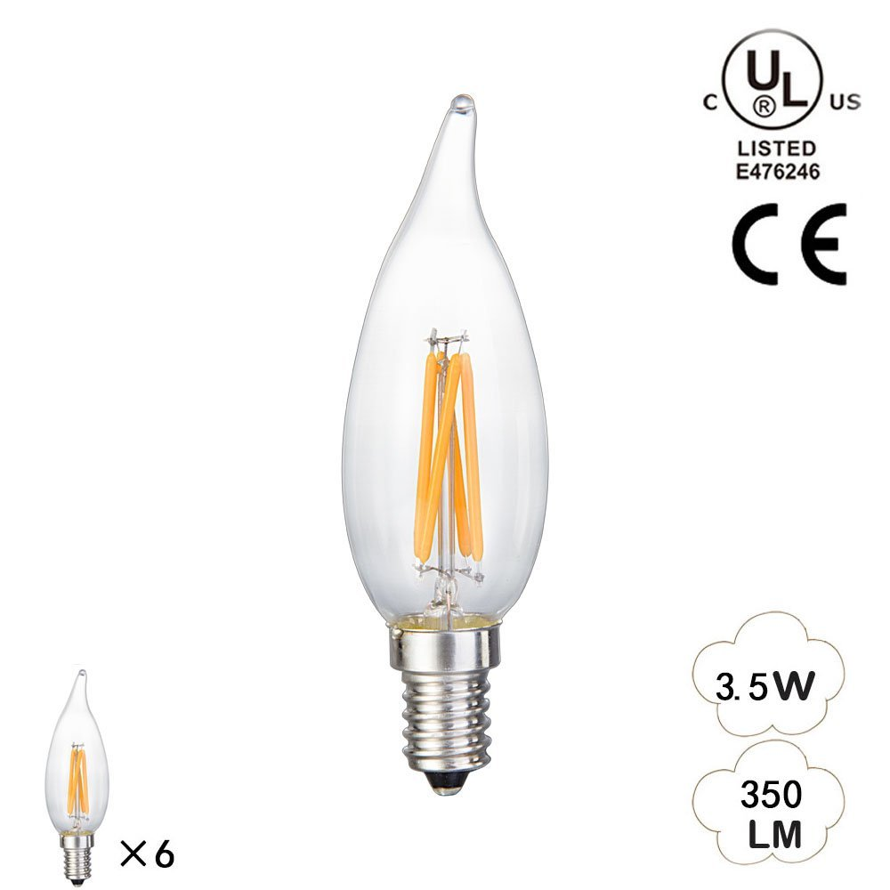 YLISAE NRAE 6 Pack Energy Saving 3.5Watt LED Filament Candelabra Light Bulb - Dimmable 2700K - Flame Tip - Exact Equivalent to Standard 50W Incandescent Chandelier Bulb (3.5)