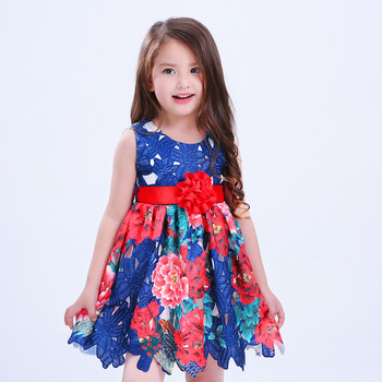 X1114 Latest Children Frocks Lace Short A Line Flower Dresses Birthday Pattern Kids Party Dress
