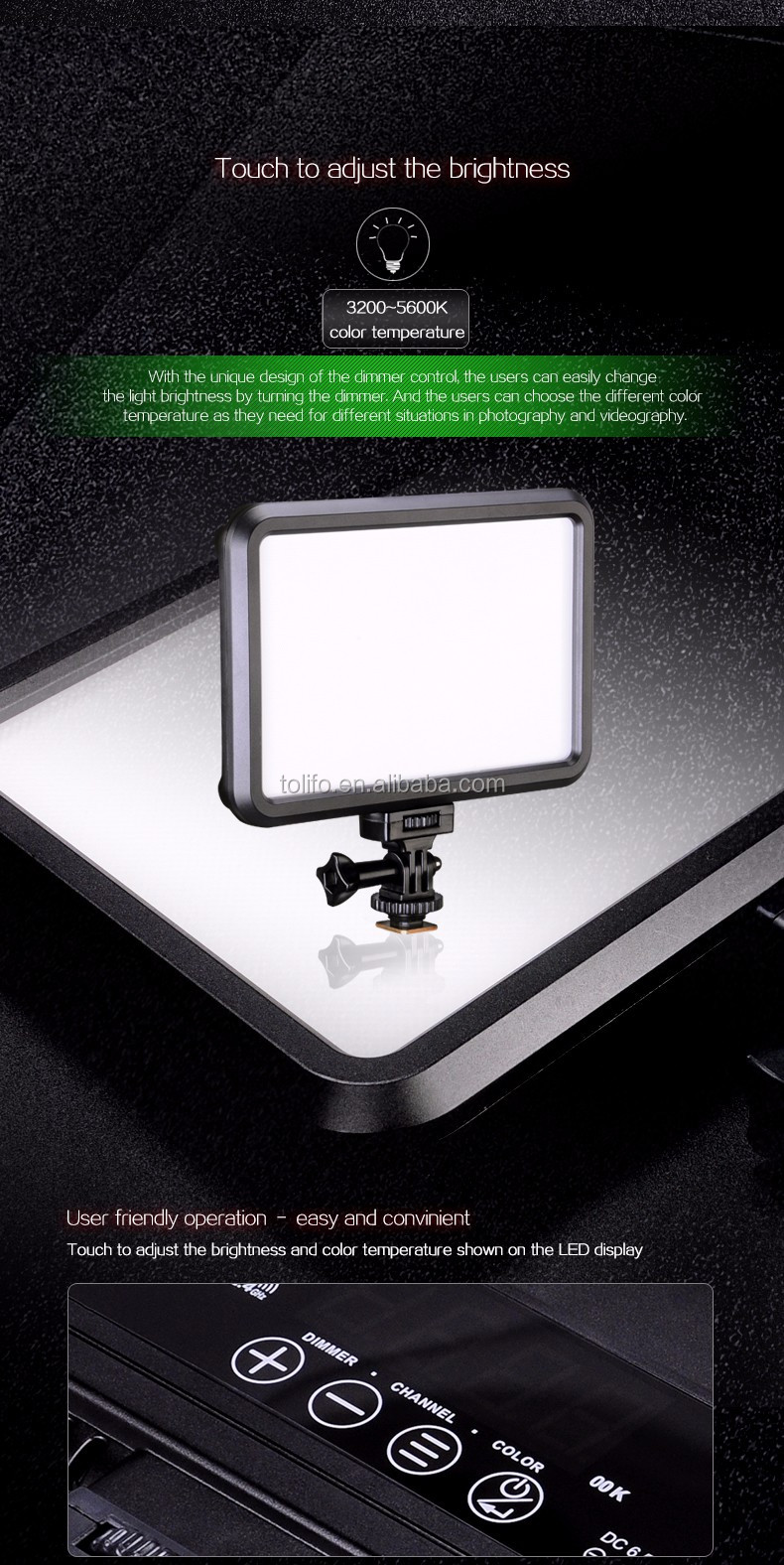 LED Camera Light met ingebouwde Batterij-Professionele DSLR LED Light Panel voor Video Camera