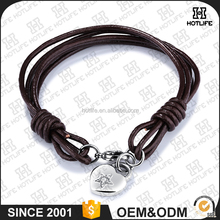 Free style new artificial leather brown bracelet with heart zircon