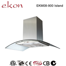 hot sale best ultra thin curved glass copper motor mechanical switch 4 LED 900mm european style kitchen island extractor hoods