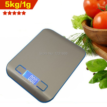 Free shipping New 5kg/1g Digital Kitchen Food Diet Scale Cooking Healthy LED stainless steel Electronic Weight Balance