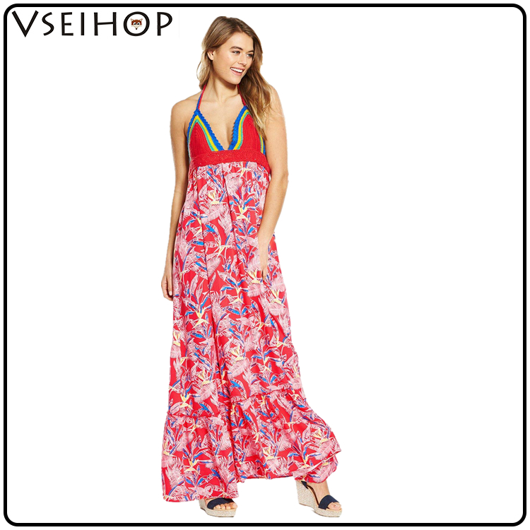 New arrival high waist long maxi drees floral printed off shoulder sexy summer women dress