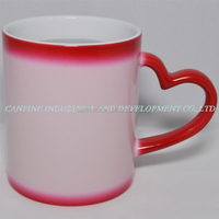 11oz red color changing ceramic mug,heart shape handle love cup magic