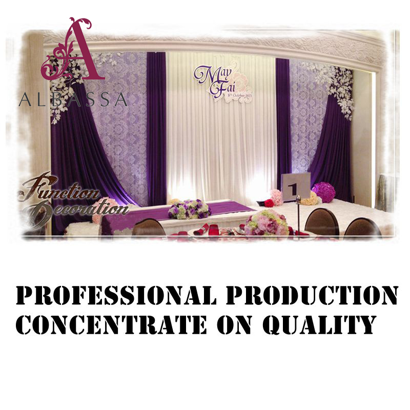 Hot sale factory designed cheap wedding backdrop with swag and lace drape backdrop stage decoration