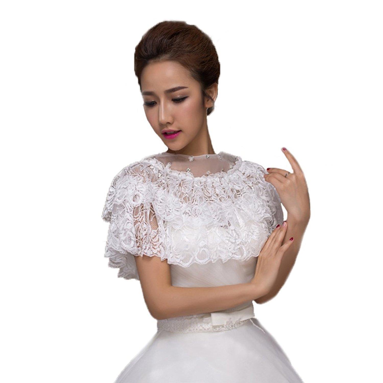 82c42cebe334 Get Quotations · Vivivalue Women Bridal Embroidered Lace Appliques  Rhinestone Wrap Shrug Shawls Stole Boleros Jackets Coat Cape Capelet