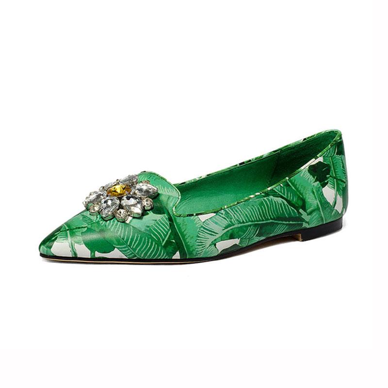 cf667689 Punta de cristal de deslizamiento en verde azul hoja de cuero genuino  italiano planos de las