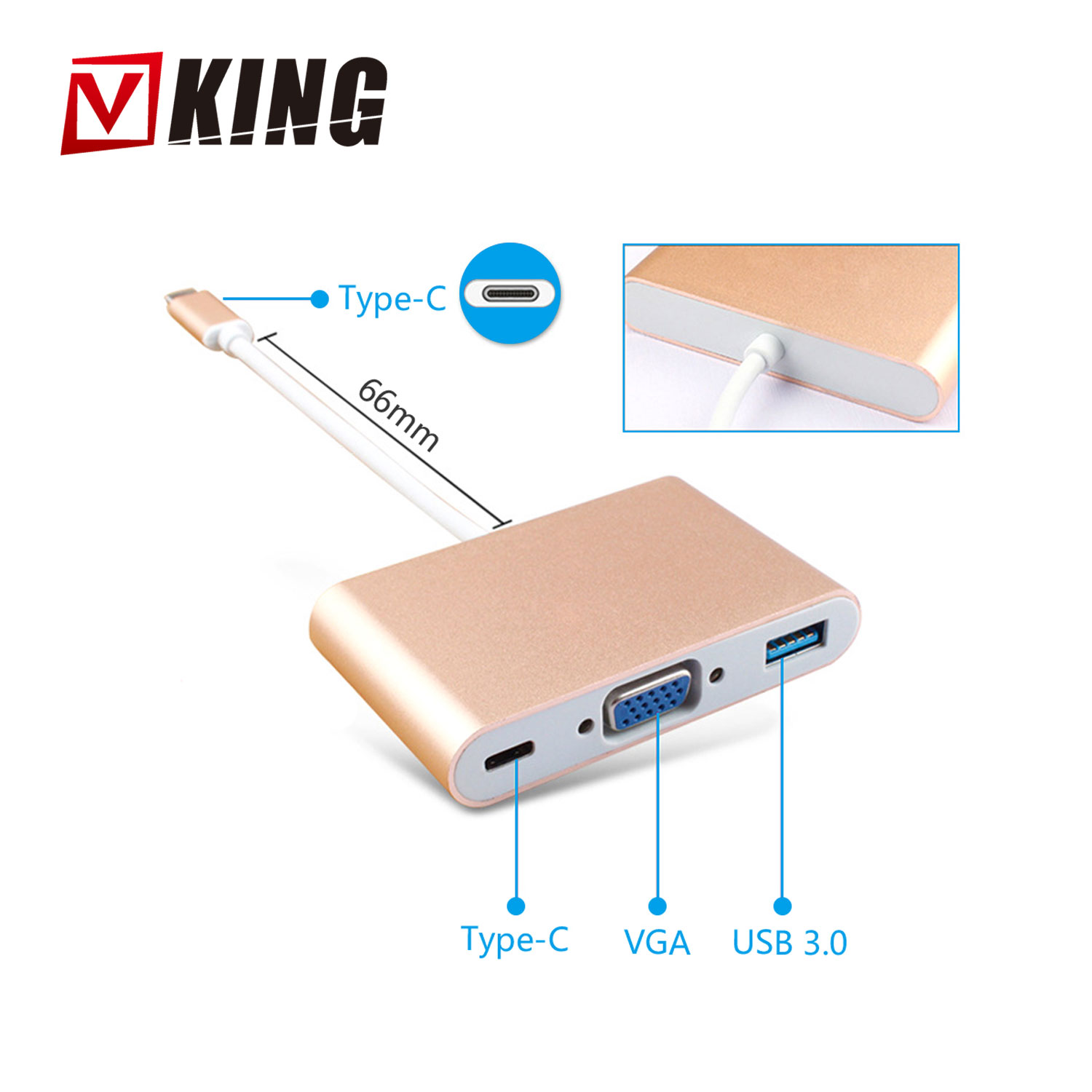 Hot 3 in 1 USB hub 3.0 type c to VGA +USB 3.0+Type C Adapter Converter for New Laptop