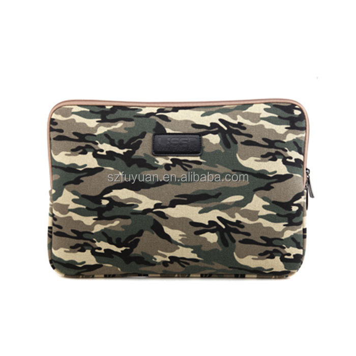 Wholesale 15.6 inch camo shakeproof laptop sleeve bag with zipper closure