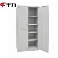 Steel office furniture 2 swing door metal cabinet 4 shelf support