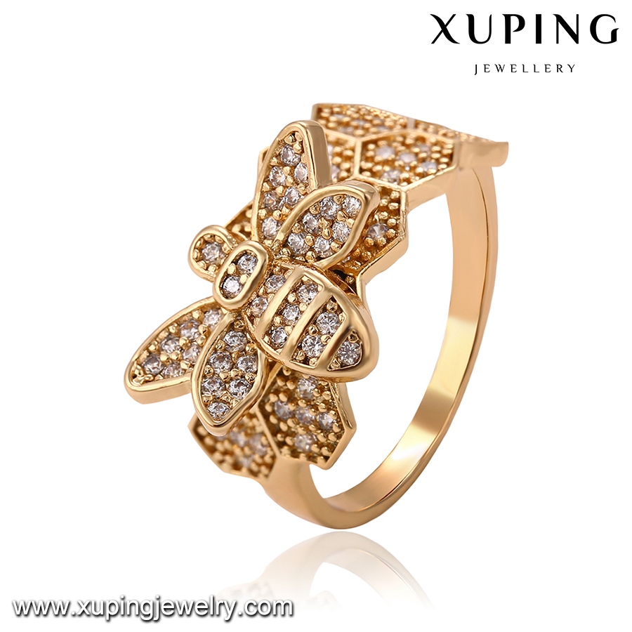 14334 High quality new arrival fashion women jewelry 18k gold color bee shape cute style micro paved finger ring