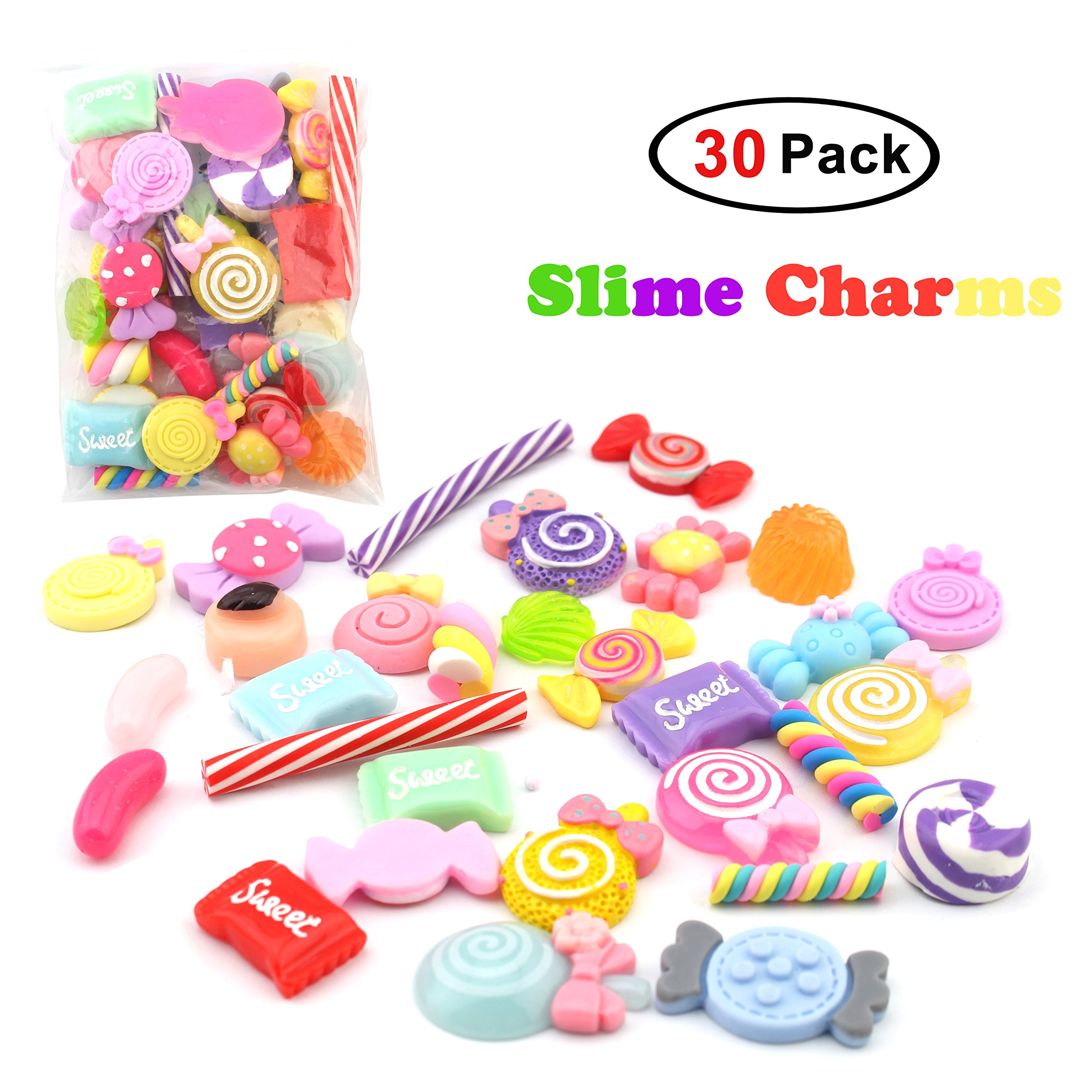 30 Pack Slime Charms For DIY Slime Making, Mixed Assorted Sweet Candies 30 Pieces of Slime Beads, DIY Arts Crafts Slime Accessories (Slime Charms 30 Pack)