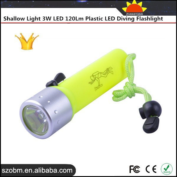 Shallow Light 3W Aluminum Alloy 120Lm Waterproof Plastic Led Flashlight