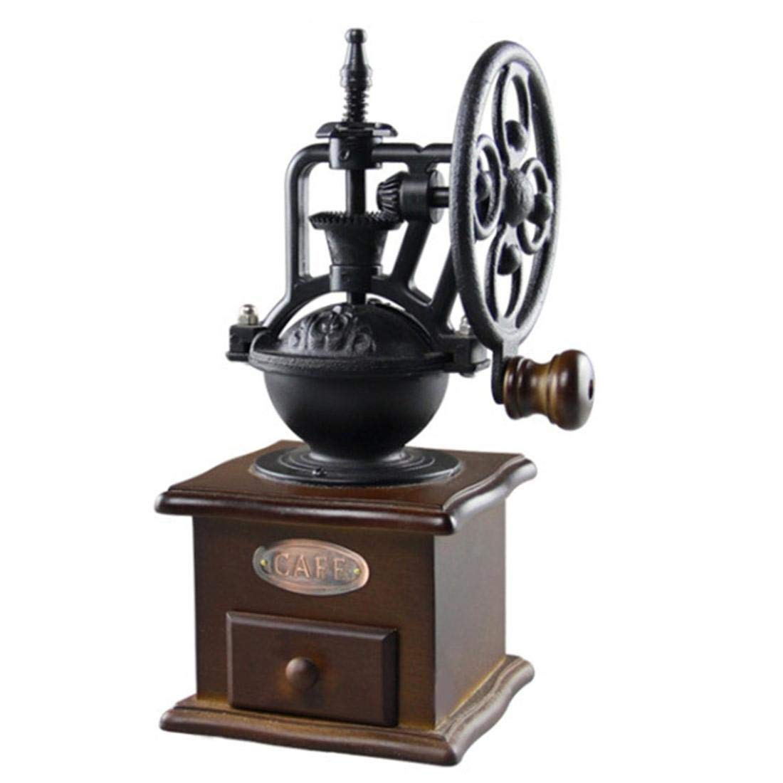 Manual coffee grinder, vintage style, wooden, coffee bean mill grinding ferris wheel, wheel design, manual coffee machine with wooden drawers, Black