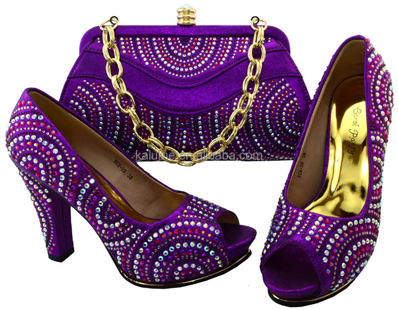 Women Shoes With And High Bags Italian Purple New Matching Quality Shoe Design BCH Sets Bags For 39 Stones Ofqxzdww1t