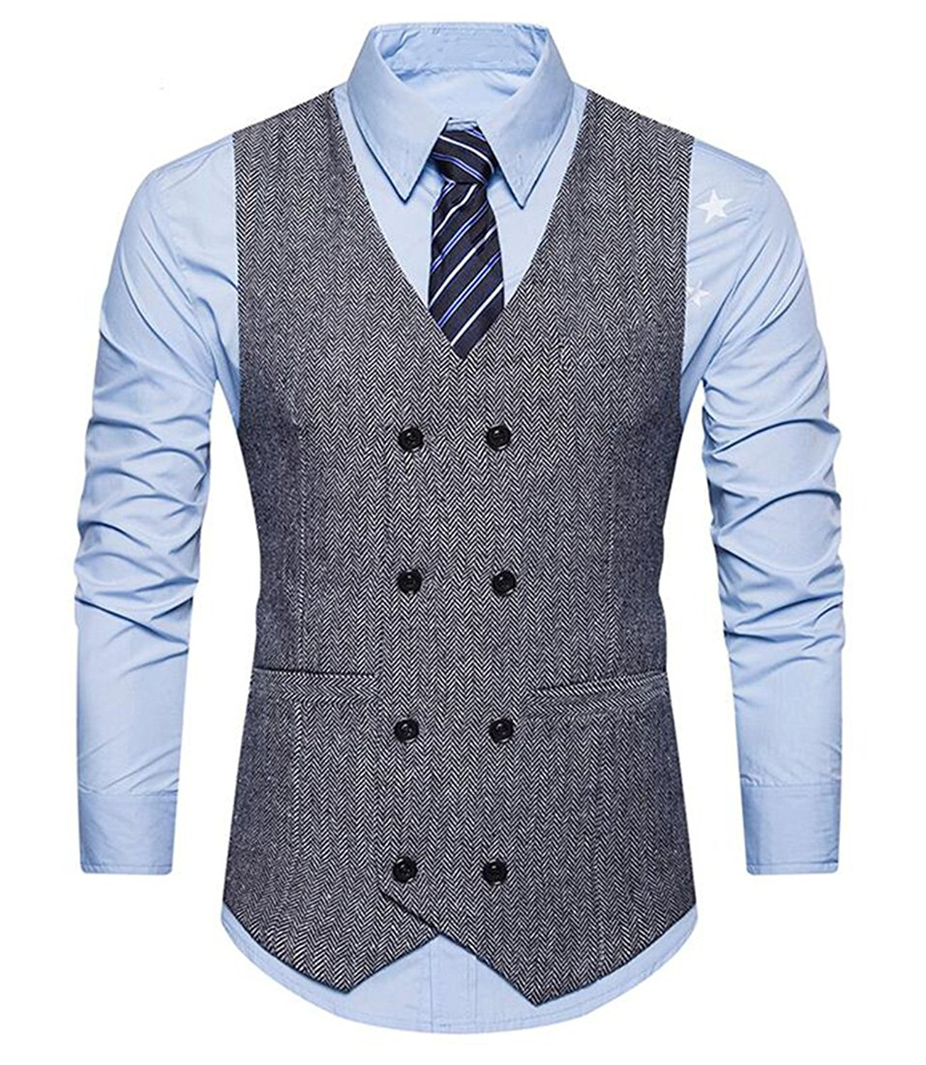 Oberora Mens V-Neck Double-Breasted Wool Sleeveless Jacket Business Suit Vest