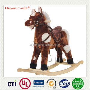 Large size 78x21x68(cm) plush rocking horse moving mouth & swing tail with music